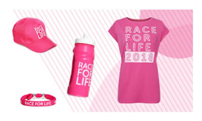 Free Race for Life T-shirt, Cap  & Water Bottle