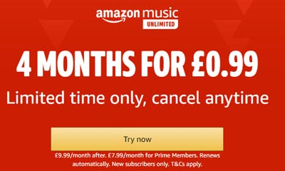 99p for 4 Months Amazon Music Unlimited