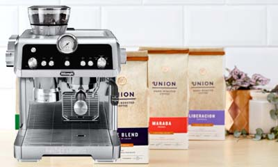 Free Union Roasted Coffee & DeLonghi Machines